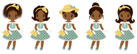Vector cute little African American girls in retro style. Vector African American girls with various hairstyles. Pin-up little girls vector illustration Illusztráció
