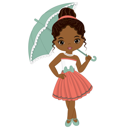 Vector cute little African American girl in retro style. Vector African American girl. Pin-up little girl vector illustration