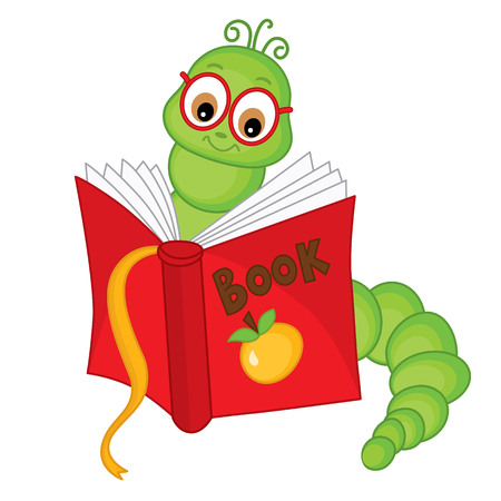 Vector cute carton bookworm in glasses reading book. Vector bookworm in glasses. Bookworm vector illustration