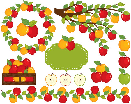 Vector set with apples. Set includes wreath, branch, tree and frame. Apples vector  illustration Illustration