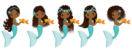 Vector cute little mermaids with fish. Vector African American mermaids with various hairstyles. Mermaids vector illustration