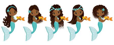 seaweeds: Vector cute little mermaids with fish. Vector African American mermaids with various hairstyles. Mermaids vector illustration