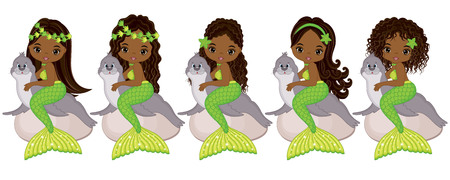 Vector cute little mermaids with fur seals.  Vector African American mermaids with various hairstyles. Mermaids vector illustration Illustration