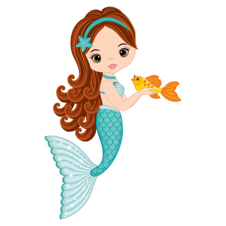 Vector cute little mermaid with fish. Mermaid vector illustration