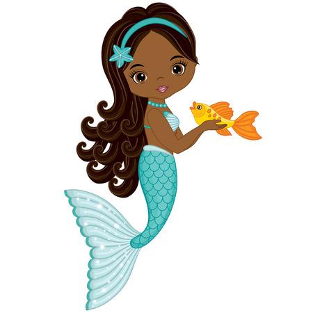 Vector cute little mermaid with fish. Vector African American mermaid. Mermaid vector illustration