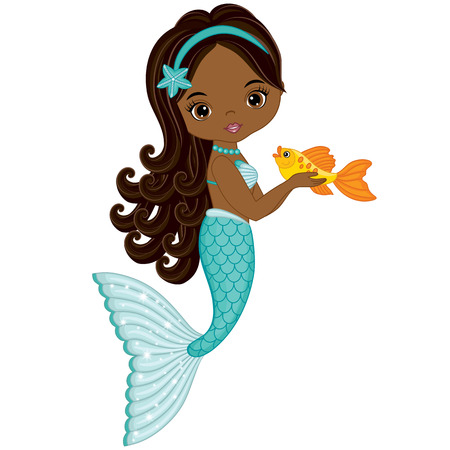 Vector cute little mermaid with fish. Vector African American mermaid. Mermaid vector illustration