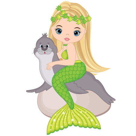 lion tail: Vector cute little mermaid with fur seal. Mermaid vector illustration