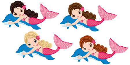 Vector cute little mermaids swimming with dolphins. Vector mermaids with various hair colors. Mermaids vector illustration Illustration