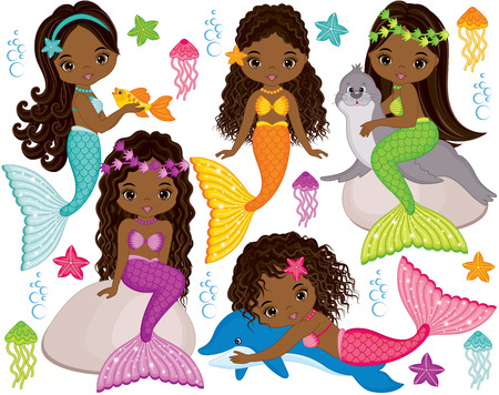 Vector set with cute mermaids, dolphin, fur seal, fish, starfish, jellyfish and seaweeds. Vector beautiful little African American mermaids. Mermaids vector illustration