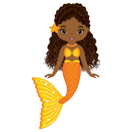 Vector cute little mermaid swimming. Vector African American mermaid. Mermaid vector illustration Ilustração