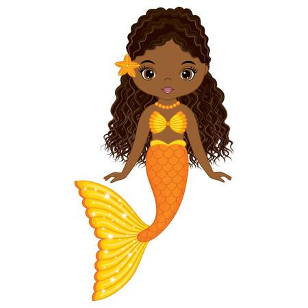 Vector cute little mermaid swimming. Vector African American mermaid. Mermaid vector illustration Illustration
