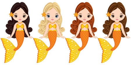 Vector cute little mermaids swimming. Vector mermaids with various hair colors. Mermaids vector illustration Ilustração