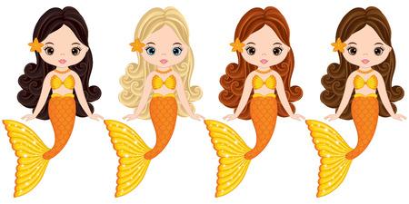 Vector cute little mermaids swimming. Vector mermaids with various hair colors. Mermaids vector illustration Imagens - 84261610