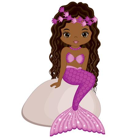 Vector niedliche kleine Meerjungfrau sitzt auf Stein. Vektorafrikanischer Amerikaner. Meerjungfrau Vektor-Illustration Standard-Bild - 84261622