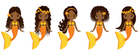 Vector cute little mermaids swimming. Vector African American mermaids with various hairstyles. Mermaids vector illustration Illustration
