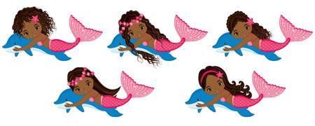 seaweeds: Vector cute little mermaids swimming with dolphins. Vector African American mermaids with various hairstyles. Mermaids vector illustration
