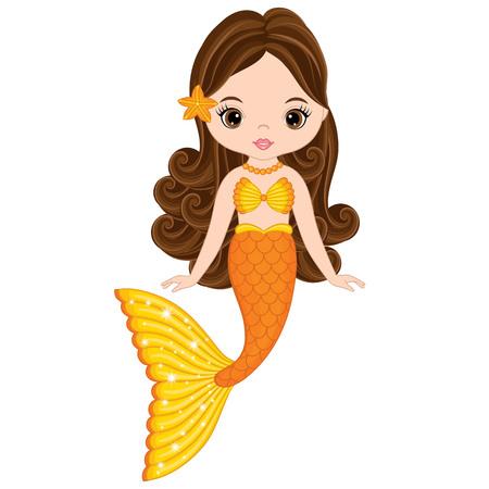 Vector cute little mermaid swimming. Mermaid vector illustration 일러스트