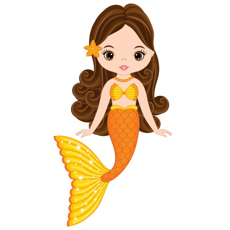 Vector cute little mermaid swimming. Mermaid vector illustration Vectores