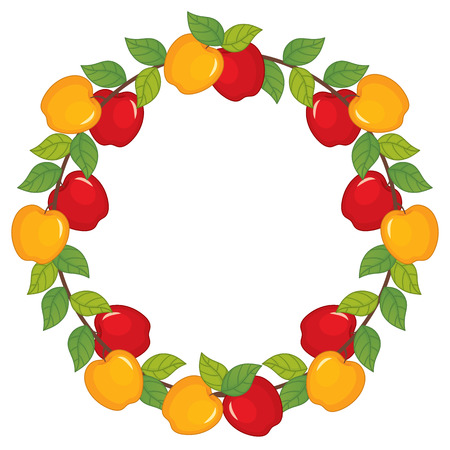 Vector wreath with red and yellow apples. Apple wreath vector  illustration