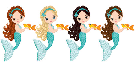 Vector cute little mermaids with fish. Vector mermaids with various hair colors. Mermaids vector illustration