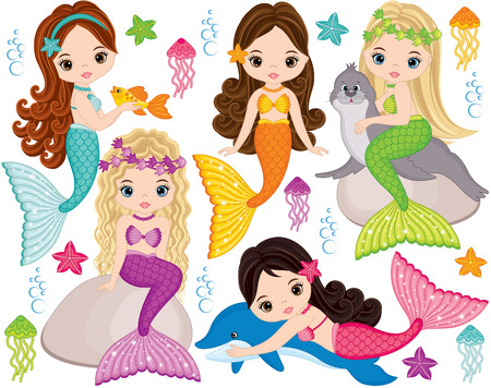 Vector set with cute mermaids, dolphin, fur seal, fish, starfish, jellyfish and seaweeds. Vector beautiful little mermaids. Mermaids vector illustration