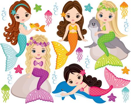 Vector set met schattige zeemeerminnen, dolfijnen, pelsrobben, vissen, zeesterren, kwallen en zeewieren. Vector mooie kleine zeemeerminnen. Zeemeerminnen vectorillustratie