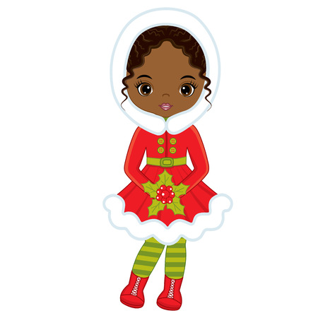 Vector cute little African American girl with Christmas red berries. Vector girl with holly berries. Christmas girl vector illustration