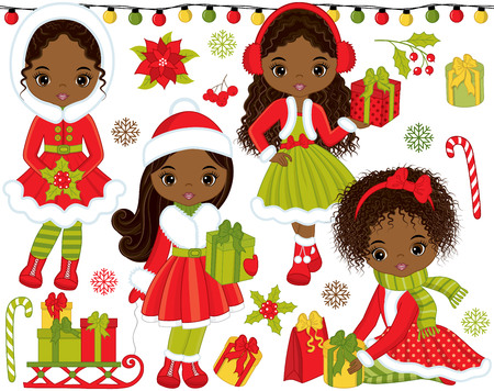 mitten: Vector Christmas and New Year set. Set includes cute little African American girls with gifts, candy sticks, red berries, poinsettia, snowflakes, sledge and Xmas lights. Christmas vector illustration Illustration