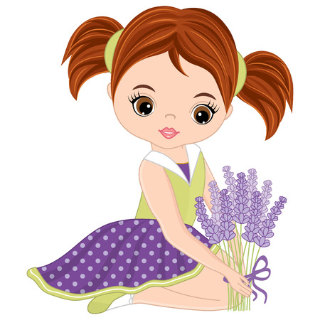 Vector cute little girl with lavender bouquet. Vector lavender girl. Little girl vector illustration
