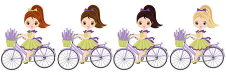 Vector cute little girls riding bicycles. Vector bicycles with baskets of lavender. Vector gils with various hair colors. Vector lavender girls. Little girls vector illustration