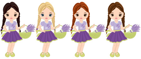 Vector cute little girls with baskets of lavender flowers. Vector girls with various hair colors. Vector lavender girls. Little girls vector illustration