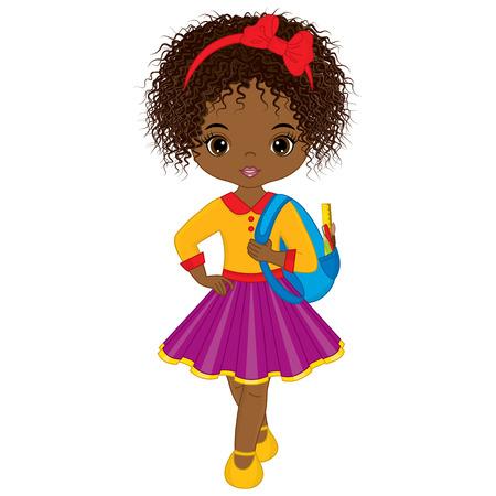 Vector cute little African American girl with school bag. Little girl vector illustration