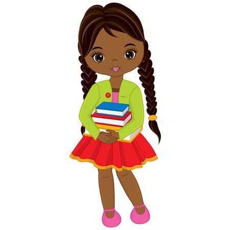 Vector cute little African American girl with books. Little girl vector illustration