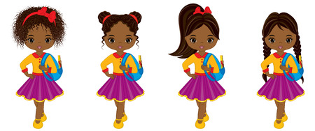 Vector cute little African American girls with school bags. Vector African American girls with various hairstyles. Little girls vector illustration