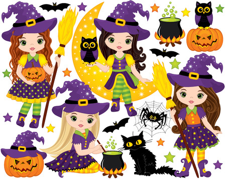 Vector Halloween set with cute little witches, owls, black cat, spider, bats, magic cauldron, moon and pumpkins. Vector Halloween witches. Halloween vector illustration
