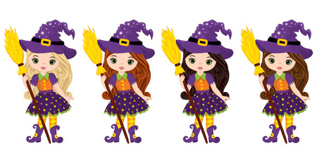 Vector cute little witches with broomsticks. Vector Halloween witches with various hair colors. Halloween witches vector illustration Illustration