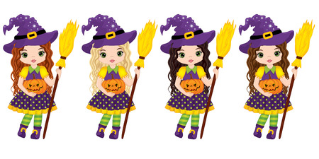 Vector cute little witches with broomsticks and pumpkins. Vector Halloween witches with various hair colors. Halloween witches vector illustration