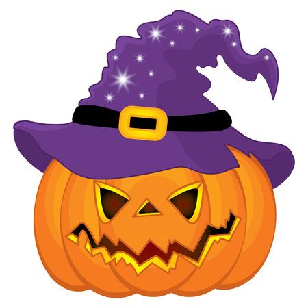 Vector Halloween pumpkin in witch hat. Vector pumpkin. Halloween vector illustration