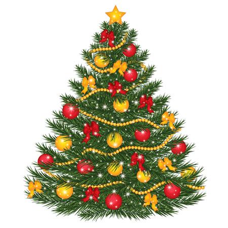 Vektor verzierter Weihnachtsbaum. Vector den Weihnachtsbaum, der mit Bällen, roten Bögen, Lichtern und Stern verziert wird. Weihnachtsbaum-Vektorillustration Vektorgrafik