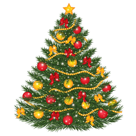Vector decorated Christmas tree. Vector Christmas tree decorated with balls, red bows, lights and star. Christmas tree vector illustration
