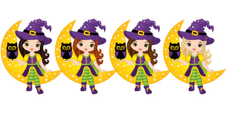 Vector cute little witches with owls sitting on the Crescent. Vector Halloween witches with various hair colors. Halloween witches and owl vector illustration