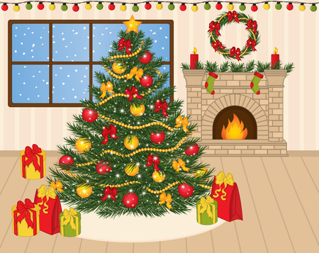 Vector decorated Christmas tree with balls, red bows, lights and star. Fireplace, Xmas socks, candles and wreath in the background. Christmas room interior. Christmas and New Year vector illustration