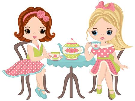 Tea party girls. Illustration
