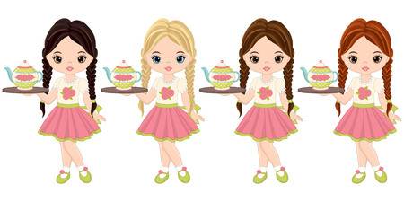 Cute little girls with tea pot and tray.