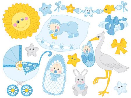 ベクトルのかわいい赤ちゃんの少年のセットです。セット内容ベビーカー、コウノトリ。バニー、太陽と青と黄色の色のおむつ。ベクトル ベビー男