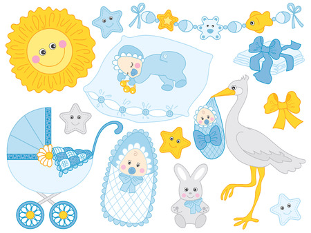 Vector cute baby boy set. Set includes stroller, stork. bunny, sun and diapers in blue and yellow colours. Vector baby  boy shower. Baby boy vector illustration