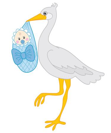 Grey stork holding a baby boy. stork. baby shower. Stork and baby boy illustration Illustration