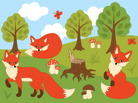 Vector set of cute red foxes, butterflies, mushrooms and trees. Vector fox. Foxes vector illustration