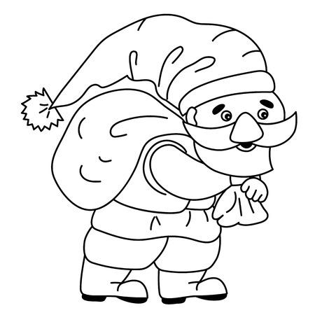 Black and white cute cartoon gnome. Illustration