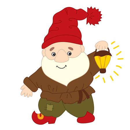 Cute cartoon colorful happy gnome.